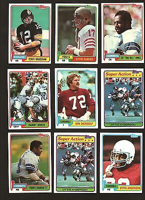 1981 TOPPS FOOTBALL LOT OF 27 CARDS TERRY BRADSHAW [1 - 520]