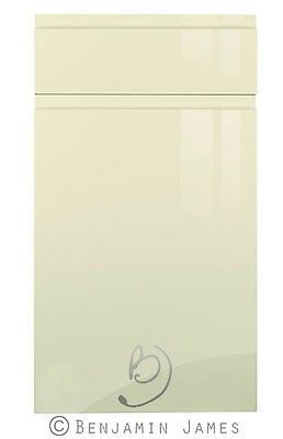 High Gloss Cream Handleless Kitchen Door and Drawer Fronts