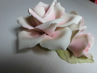 CAPODIMONTE  Large Open Pink Rose w/Buds Porcelain~Gifts of Love!!