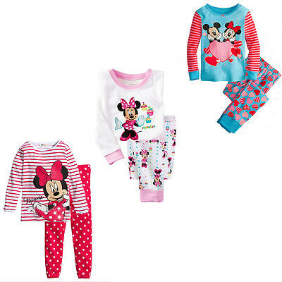 Minnie Mickey Mouse Pajamas Girls Top Shirt Legging Set Kids Nightwear Sleepwear