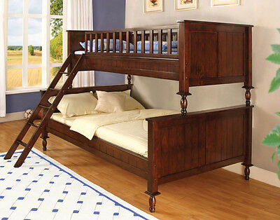 Padua Twin over Full Bunk Bed in Brown Cherry Finish
