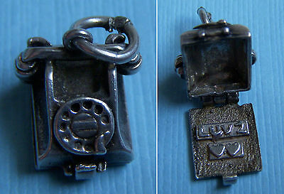 """Vintage English movable telephone opens to """"Luv 2"""" sterling charm"""