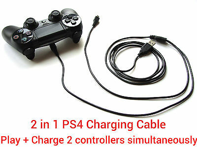 3M Long 2 in1 USB charging charger + play cable lead for Sony PS4 Controller