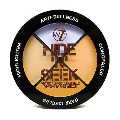 W7 Hide 'n' Seek ANTI DULLNESS Colour Correction Concealer Highlighter Quad