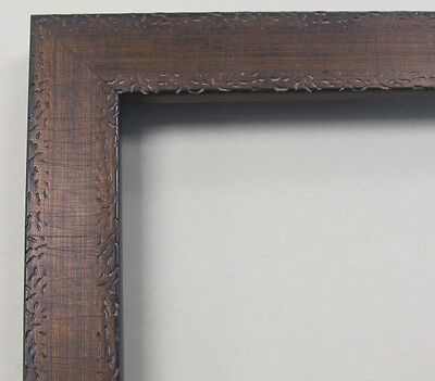 Antique Flat Gold & Brown Custom-Made Wood Picture Frame (#9878)