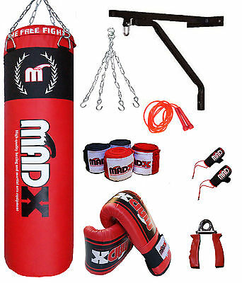 MADX 10Pc 4ft Boxing Filled Heavy Punch Bag Pro Set,Wall Bracket,Gloves, MMA