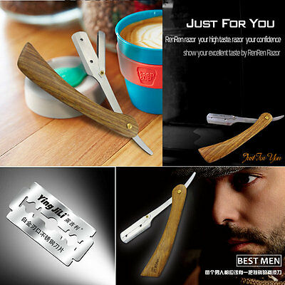 Straight Edge Barber Razor Shavers Folding Shaving Knife Rosewood Handle 5 Blade