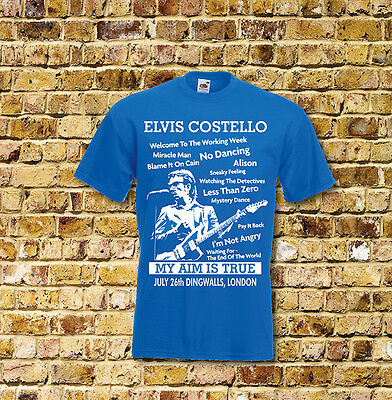 Elvis Costello My Aim is True Gig T Shirt New Black or Blue