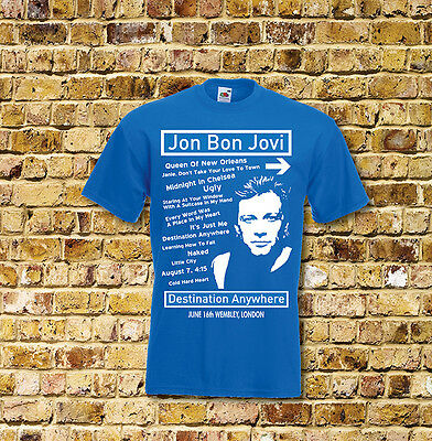 Jon Bon Jovi Destination Anywhere Gig T Shirt New Black or Blue