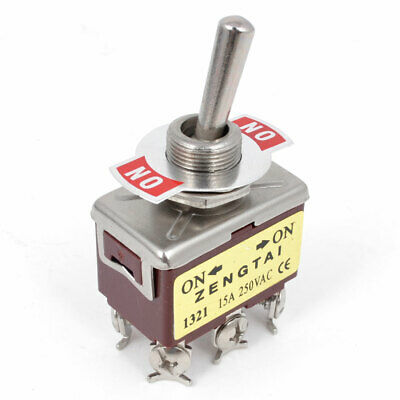 AC 250V 15A DPDT Locking 6 Screw Terminals Latching Toggle Switch
