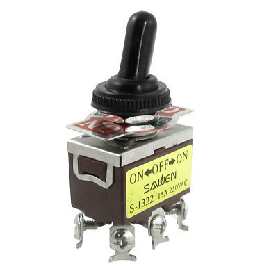 AC 250V 15A on/center off/on DPDT 6 Terminals Toggle Switch w Waterproof Boot