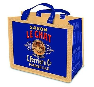 Large New Reuseable Shopping Bag Vintage French Advertising Soap Cat Le Chat