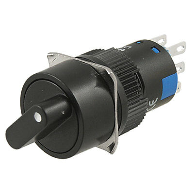 AC 220V Black Rotary Selector Type Push Button Switch
