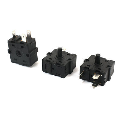 3Pcs AC 250V 10A 3P 3 Position Rotary Switch for Space Heater