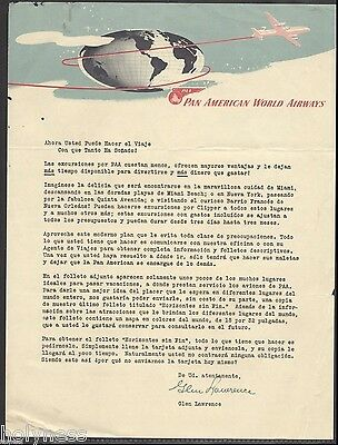 VINTAGE LETTER / PAN AMERICAN WORLD AIRWAYS  / 1940's LOGO  / RARE