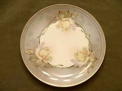 """Vintage Collector Decorative Plate, Yellow Roses on White, HUB Austria, 8.5"""""""