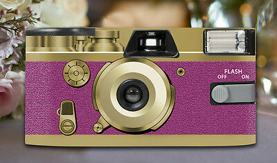 12 x Retro Pink Disposable Wedding Cameras 27exp, flash & matching table cards