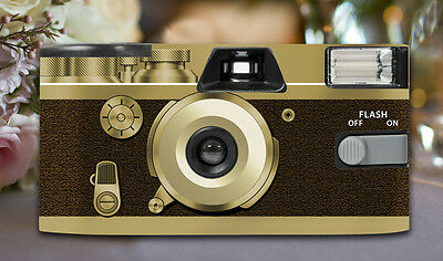 8 x Retro Brown Disposable Wedding Cameras 27exp, flash & matching table cards