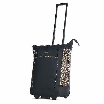 "Olympia 20"" Fashion Rolling Carry-On Wheeled Shopper Suitcase Tote Bag Leopard"