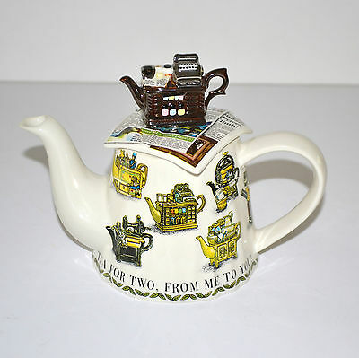 Tea for Two From Me to You Teapot by Paul Cardew Signed #2 1997-1998