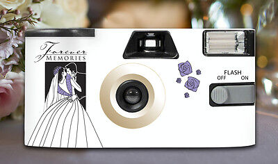 10 x Bride & Groom Disposable Cameras 27exp, flash & matching table cards