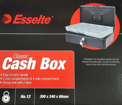 Petty Cash Box 12In 300X240 Black Tin Counter Deed Container Key