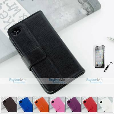 Leather Wallet Flip Case Cover For Apple Iphone 4 4s With Stand Function