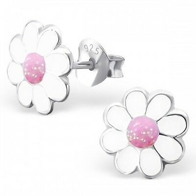 925 Sterling Silver White & Pink Daisy Stud Earrings 8mm -Girls Kids Gift Boxed