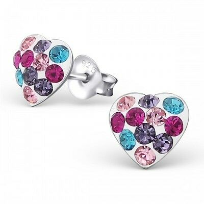 Childrens Girls Sterling Silver Heart Multi Coloured Crystal Stud Earrings Boxed