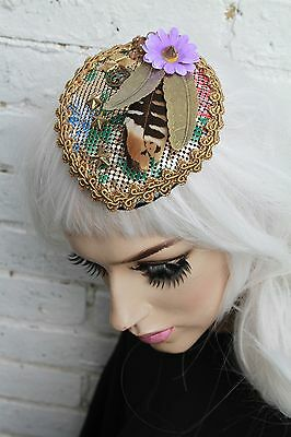Metal Skull Feather Chain Mail Daisy Tear Drop Facinator Hat Alt Pastel Goth