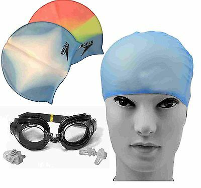 Adult Swimming Pool Silicon Waterproof Cap + Goggles + Nose Clip + Ear Plugs Kit