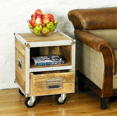 Roadie urban chic reclaimed wood furniture side end lamp bedside table cabinet