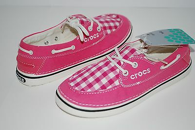 c9f0539ef9b12 NEW NWT CROCS HOVER SLIP ON BOAT GINGHAM CANVAS WOMENS HOT PINK shoes 6 7 8