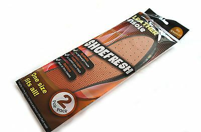 2 Pairs Shoe Fresh Leather Insoles For Shoes, Boots, Trainers, Etc - Foam Back