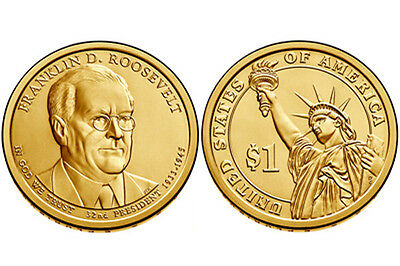 2 coins set 2014 D P Franklin Roosevelt Presidential $1 dollar from US Mint roll