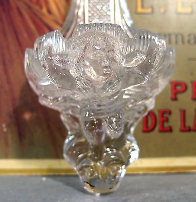 ANCIEN BENITIER VERRE ANGE XIX ANTIQUE FRENCH GLASS ANGEL HOLY WATER FONT 19th