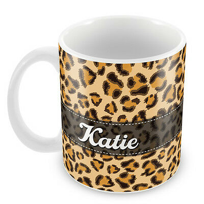 Personalised Mug LEOPARD PRINT - Add your NAME Gift Idea Christmas Coffee #89