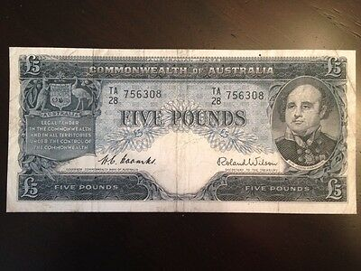 Reproduction Copy Commonwealth Of Australia £5 Pounds 1954 Five Pounds