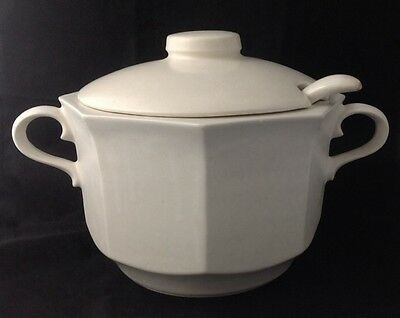 Vintage McCoy Large White Octagonal Soup Tureen Lid Ladle USA Pottery 226