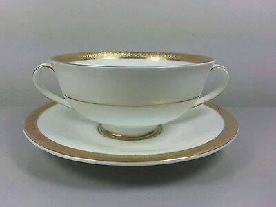 Royal Doulton Royal Gold H4980 Soup Coupe / Cup And Saucer (Perfect)