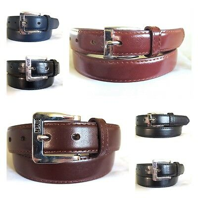 KID'S CHILDREN'S Boys Girls Stitched LEATHER Silver Buckle BELT Size S M L XL