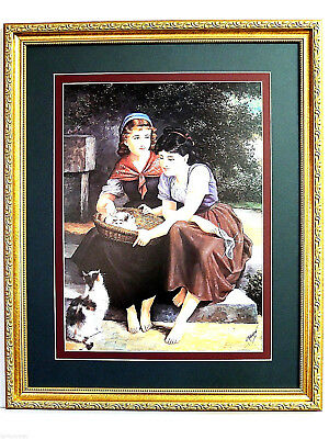 Victorian Children Picture Girls Kitty Cat Kittens In Basket Matted Framed 16X20