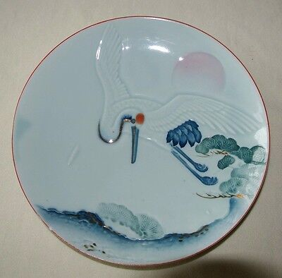 Japanese CELEDON plate with CRANE, Hand-Painted, red mark 1900-40