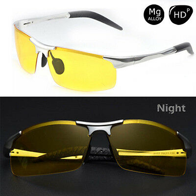 Aluminum Magnesium Car Drivers HD Night Vision Polarized Driving Glasses Yellow