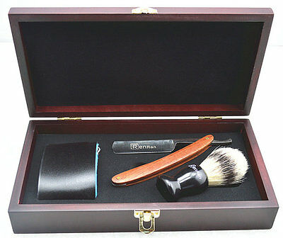 Shaver Kit Knife Straight Razor Shaving Brush and leather Strop Wood handle #17