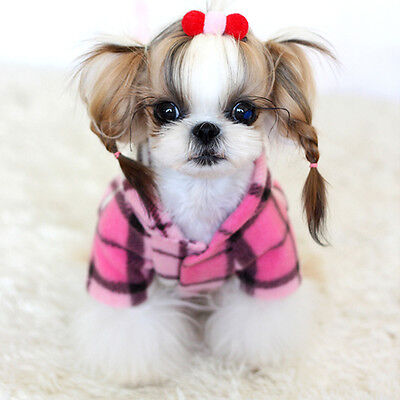 New Pink Classic Stripe Pattern Puppy Coat Clothes Dog Hoodie (#P7, M)