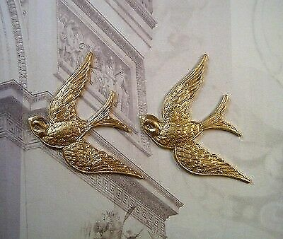 Solid Raw Brass Flying Sparrow Bird Stampings (2) - S4892 Jewelry Finding