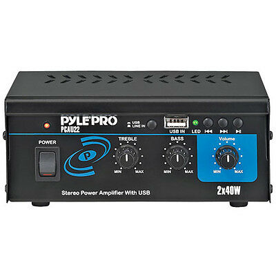 Pyle PCAU22 Mini 2x40 Watt Stereo Power Amplifier w/USB