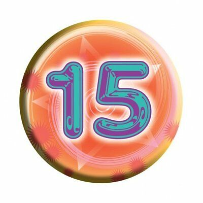 Amscan I AM 15 Today Happy 15th Birthday Badge Unisex Girls Boys 61mm Diameter