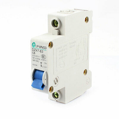 DZ47-63 C6 35mm DIN Rail Mounted 1 Pole Miniature Circuit Breaker AC 230/400V 6A